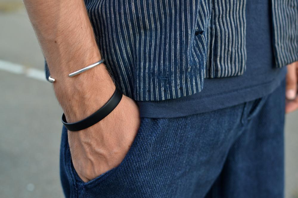A.P.C silver bracelet and H&M caoutchouc