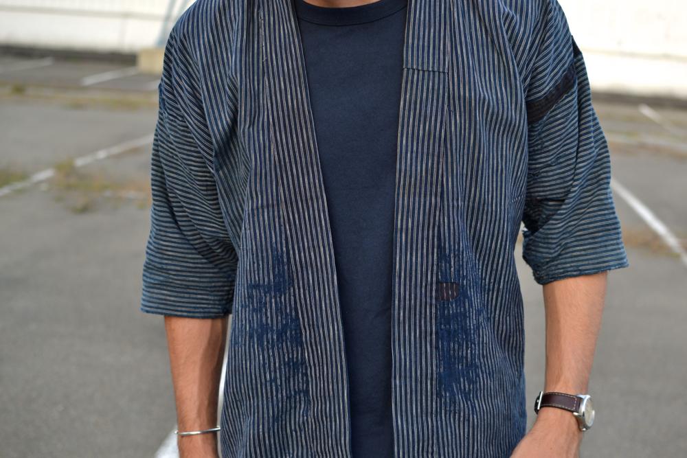 Sashiko by Bleu de Paname & Vintage noragi indigo Japanese stripes patchwork japonais boro