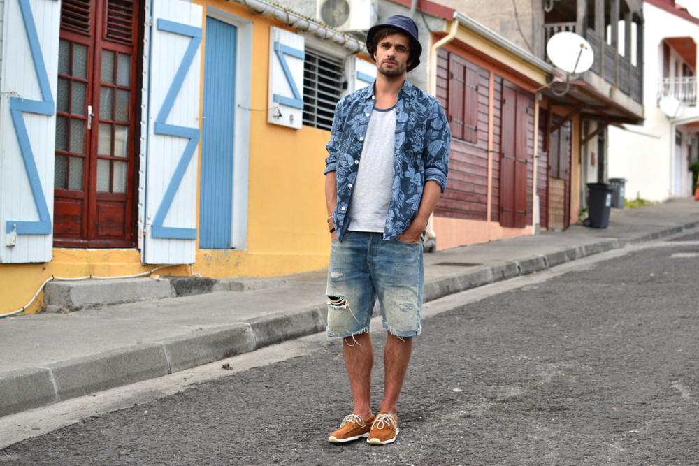 look homme workwear street heritage style pour l'été dans les caraïbes