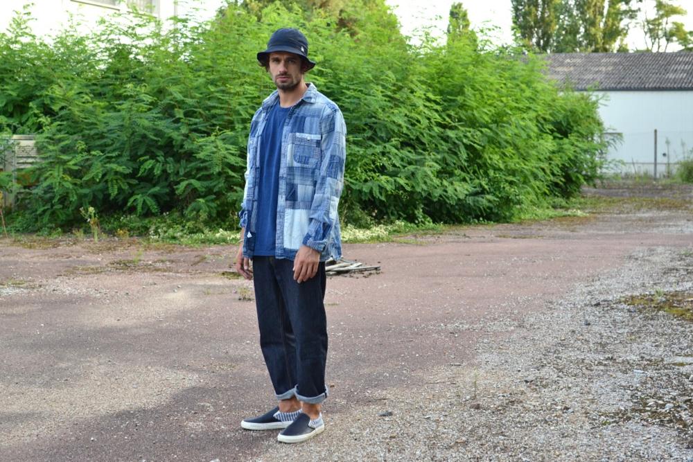 amateur de jeans, la coupe droite de Phi Denim et une chemoise Ralph Lauren en patchwork d'indigo à la japonaise