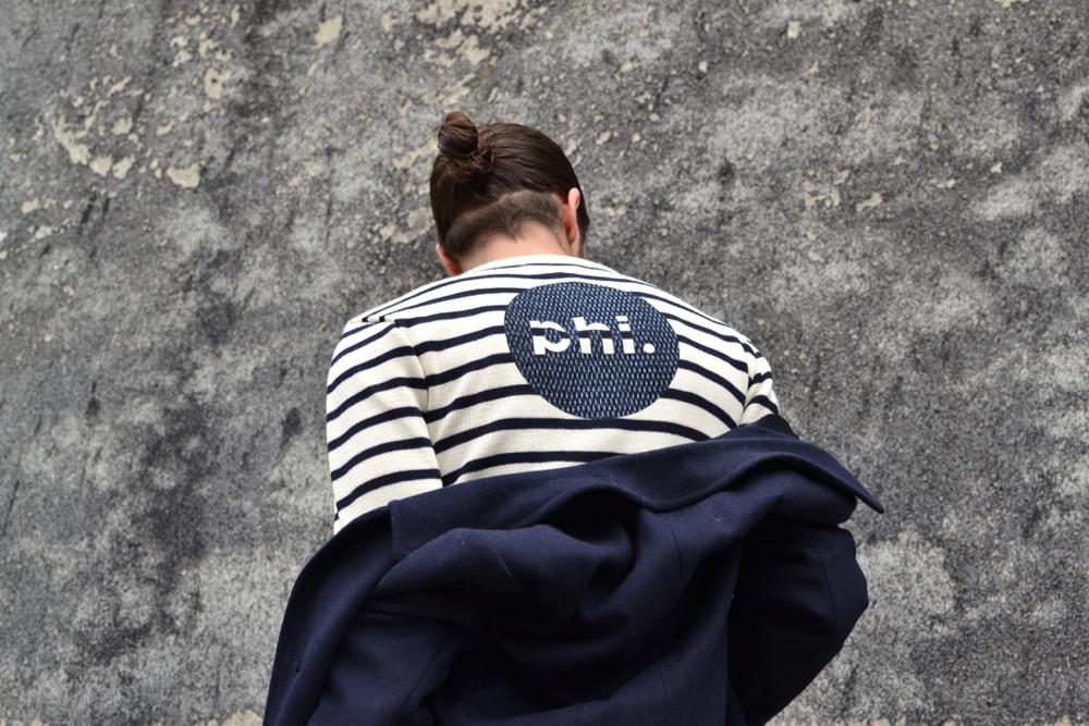 collaboration entre phi. deni; et la marque armor lux, workwear français et heritage japonais