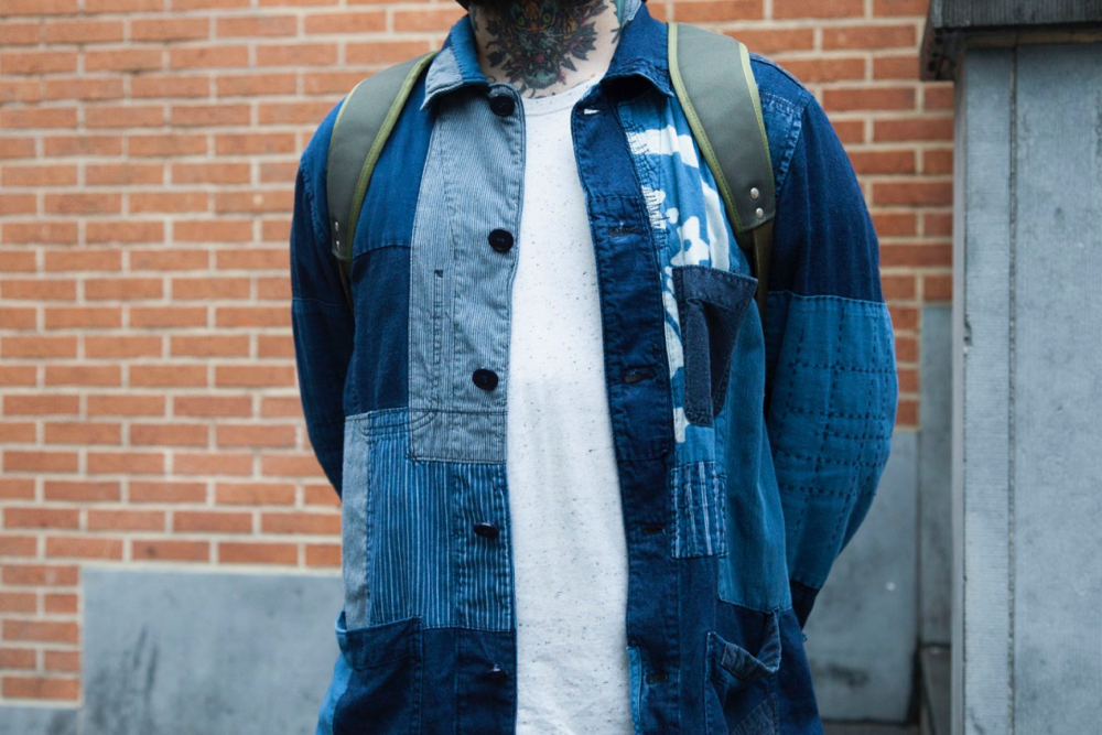 Blue Blue Japan Patchwork shirt