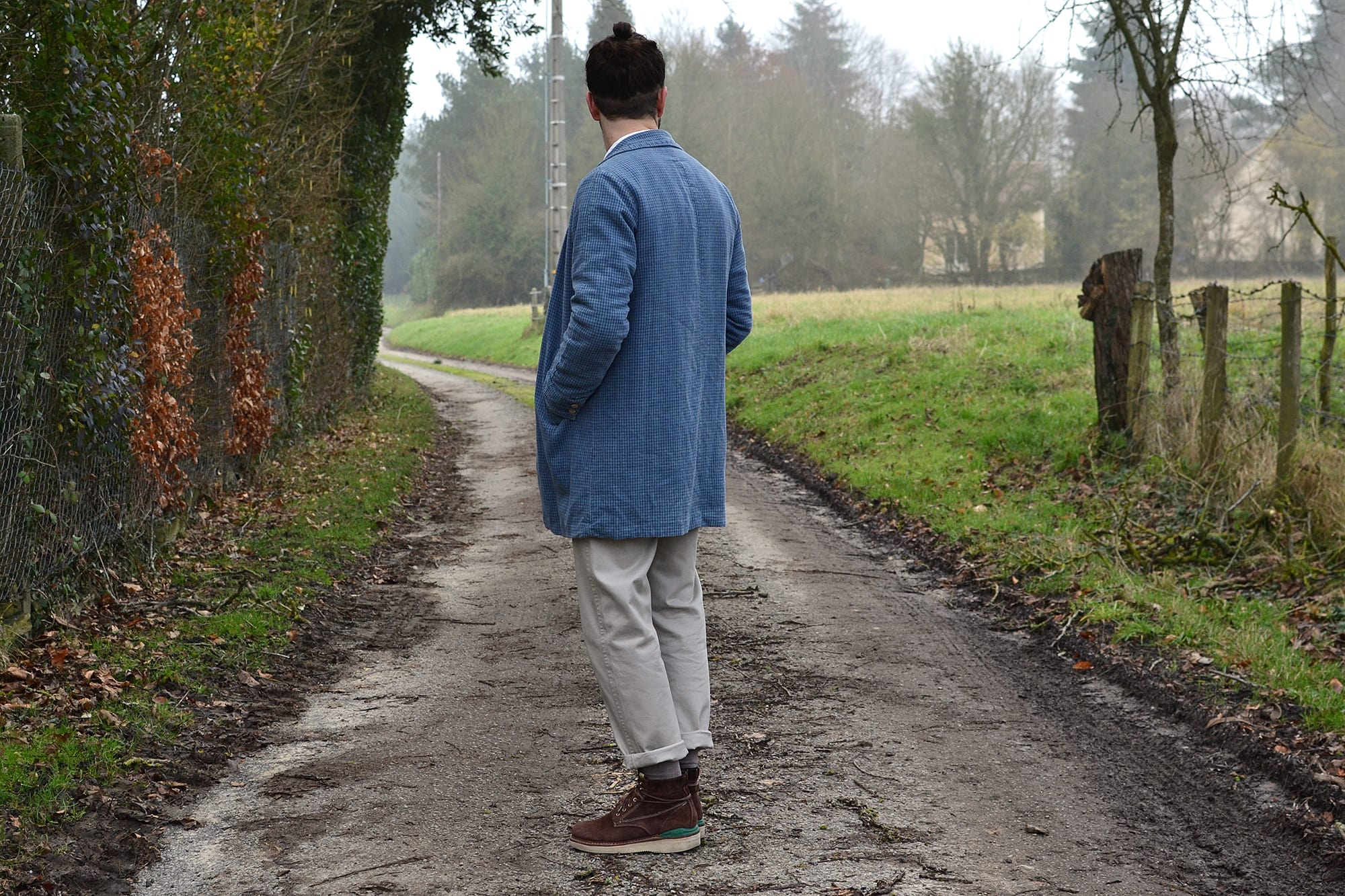 how to wear the visvim mies long coat - SS 2015 check indigo