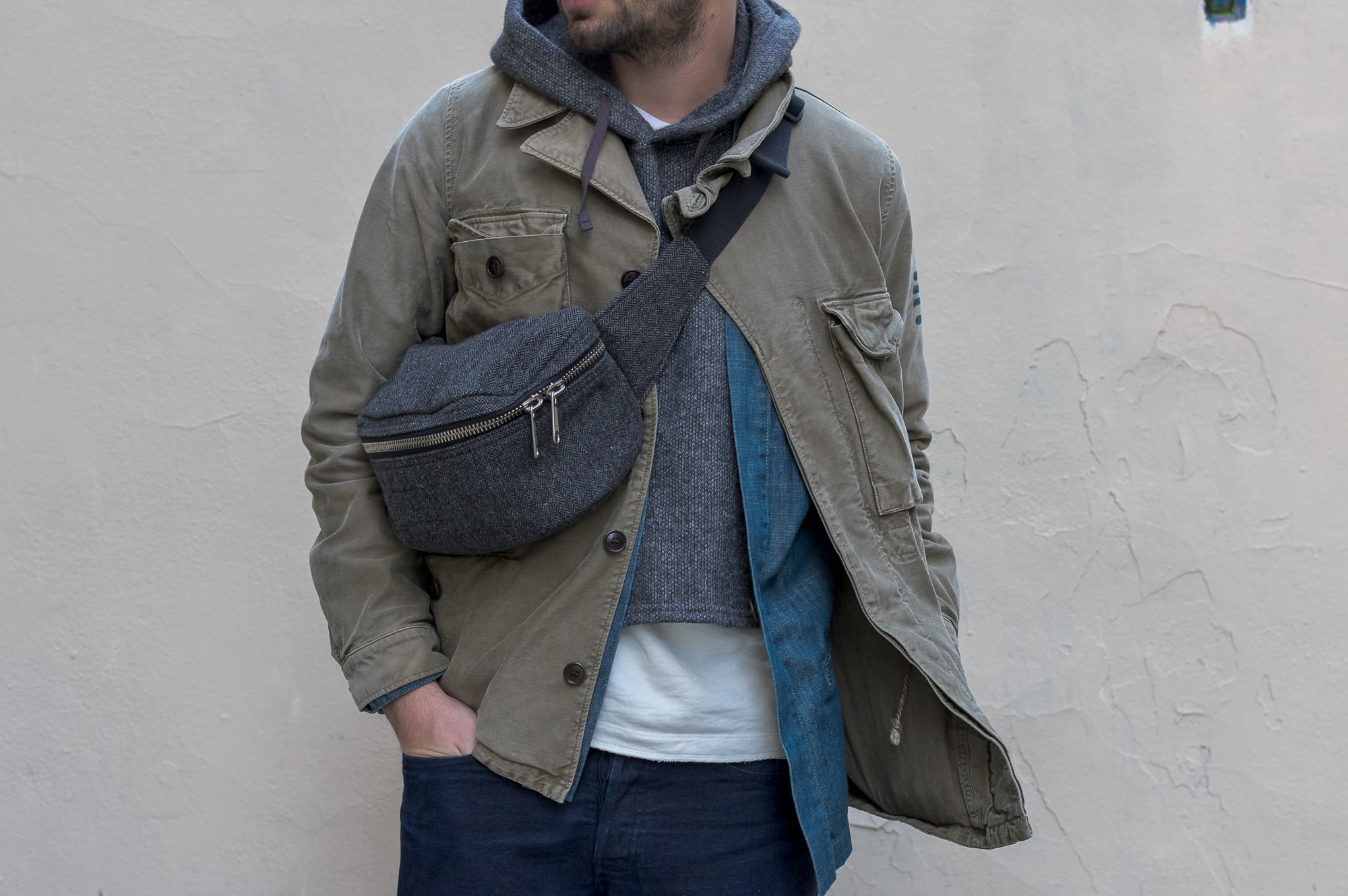 an outfit with Visvim virgil boots and aches jacket Engineered garments fanny pack and hooded interliner epaulet denim noragi plus a french brand with canevas bonne gueule pants