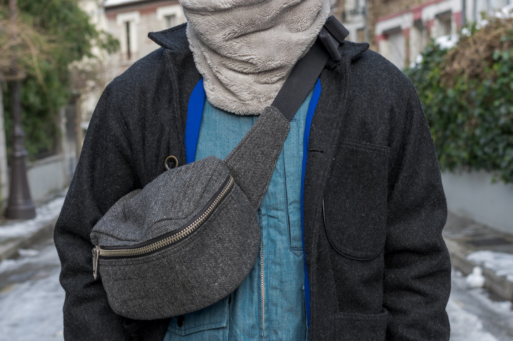 Engineered Garments herringbone tweed waist pack and Uniqlo fleece snood