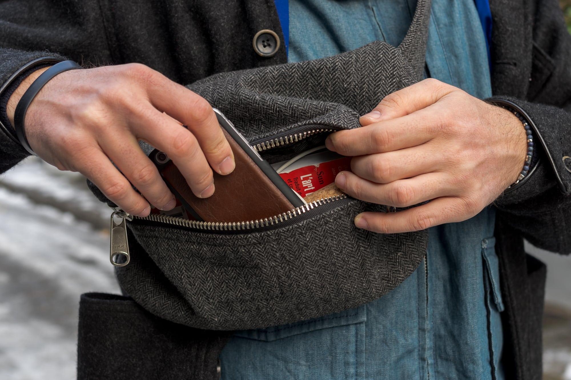 Engineered Garments herringbone tweed Fanny waist pack - Fall Winter 2009