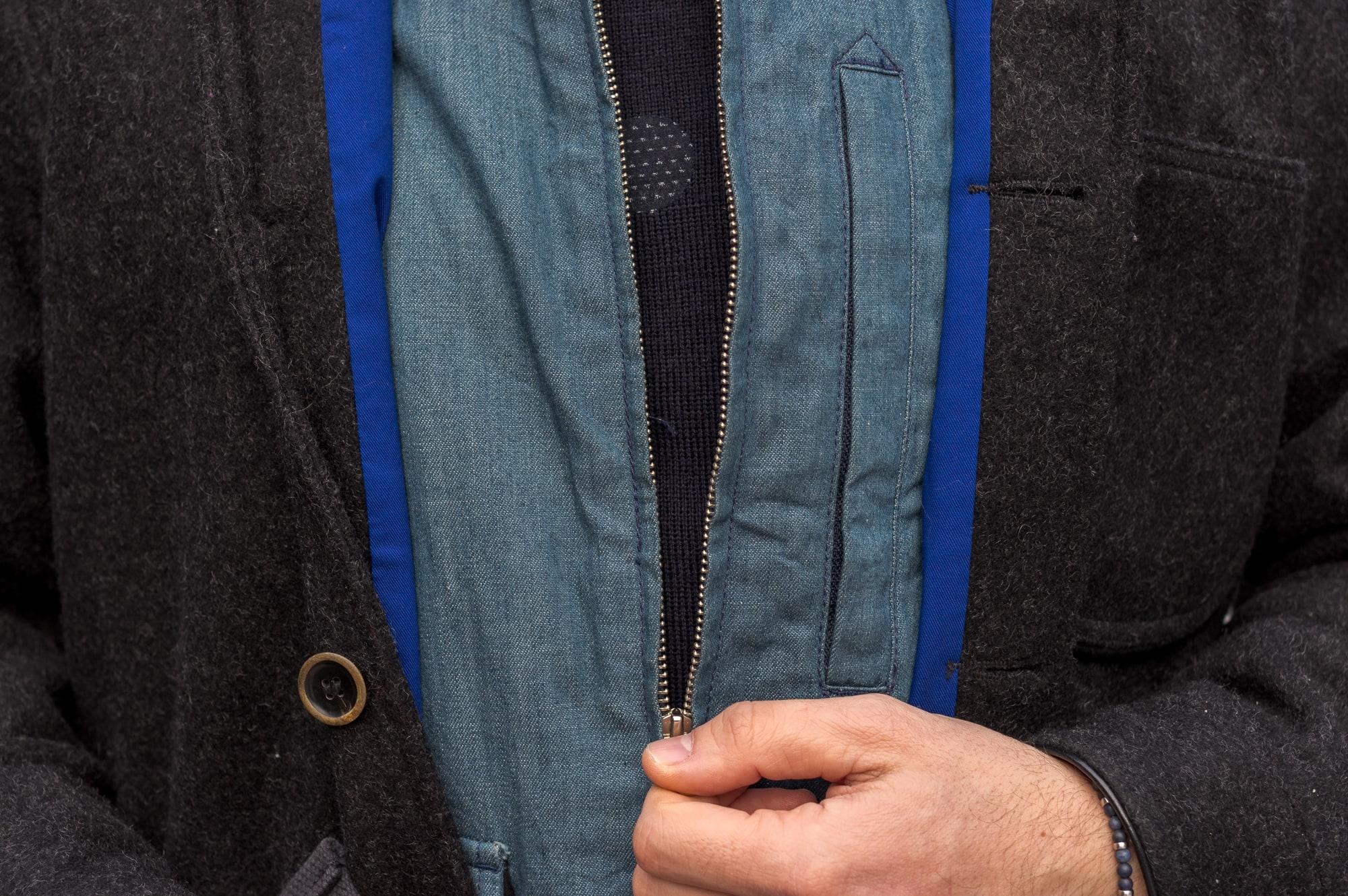 tenue d inspiration street heritage avec du engineered garments et du bleu de paname et un pull phi denim en collaboration avec armor lux
