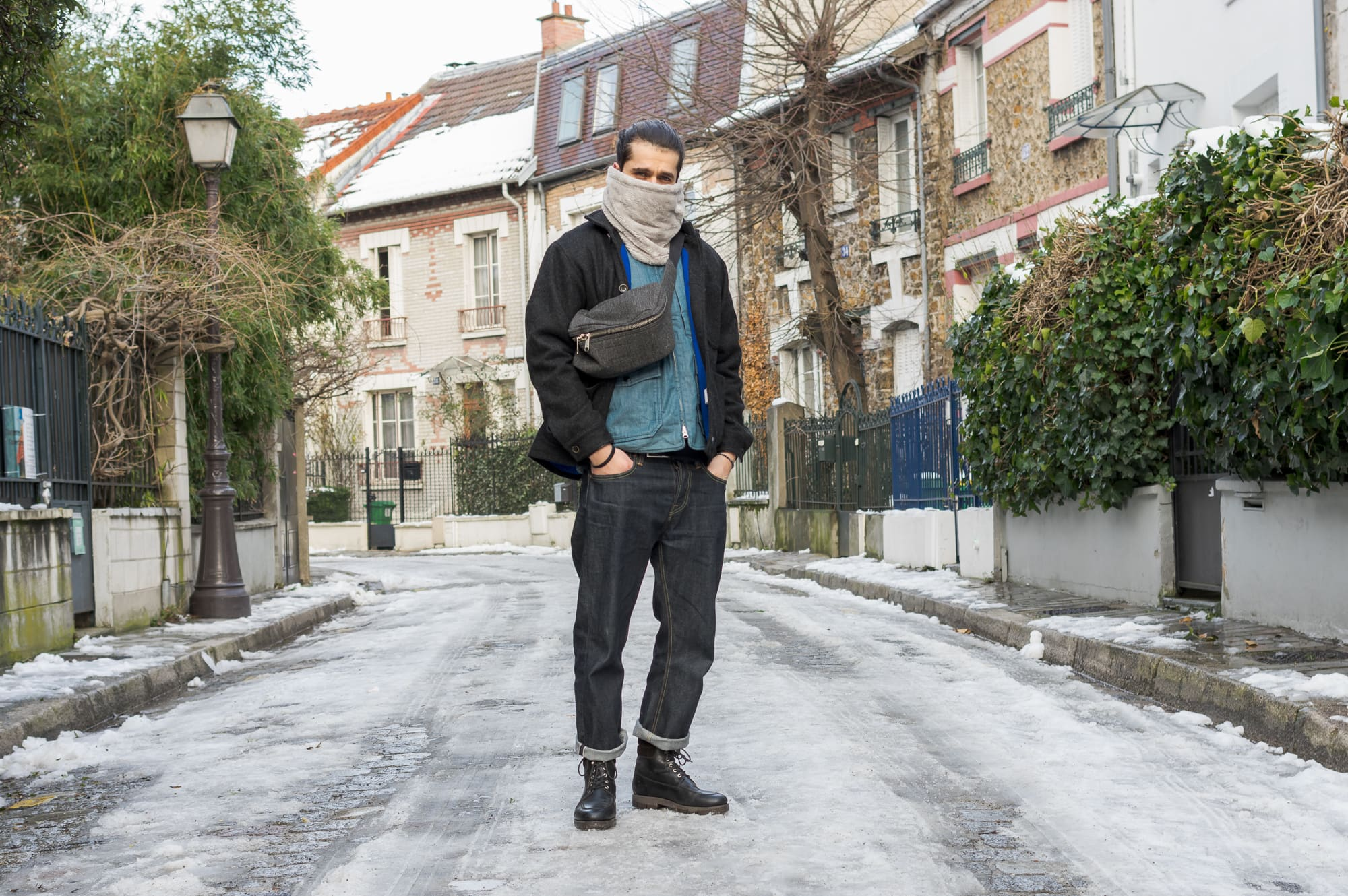 tenue d inspiration street heritage avec du engineered garments et du bleu de paname
