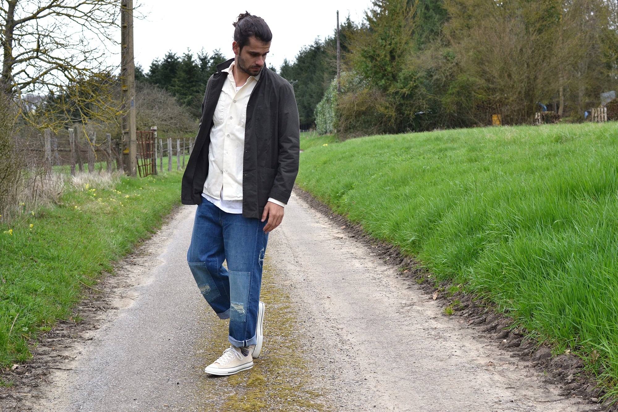 WOrkwear style with vetra work jacket, dockers x patrik ervell overshirt and Levi's Big E915 501 and converse CT70